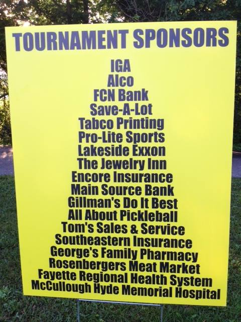 Pickleball Tournament Sponsors