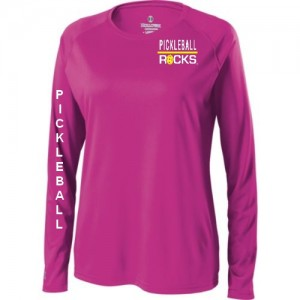 Pickleball Rocks Ladies Pink Long Sleeve Shirt